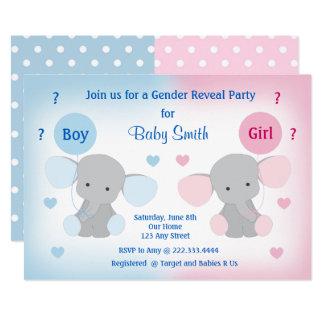 Geschlecht decken Babyparty-Einladungs-Elefanten 12,7 X 17,8 Cm Einladungskarte