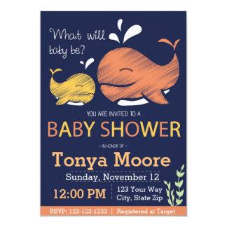 Geschlecht decken Wal-Babyparty-Einladung auf Karte