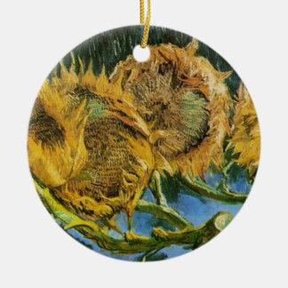 Geschnittene Sonnenblumen Van Gogh vier, Vintage Keramik Ornament