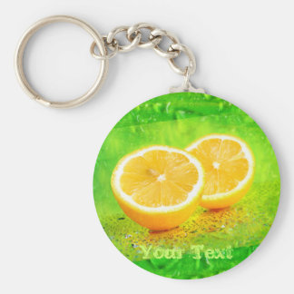 Geschnittene Zitronen-und Wasser-Tropfen Keychain Schlüsselanhänger