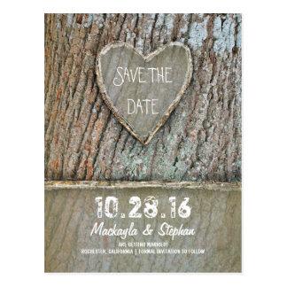 Geschnitzte rustikale Save the Date Postkarten des