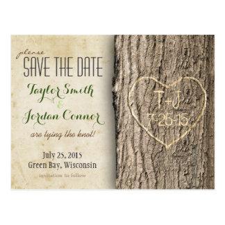 Geschnitzter Baum Save the Date Postkarte