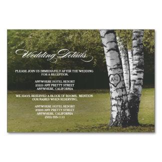 Geschnitzter Birken-Baum-Hochzeits-Empfang + Karte