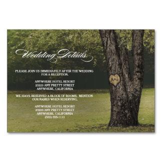 Geschnitzter Eichen-Baum-Hochzeits-Empfang + Karte