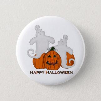Geschnitzter Kürbis-und Geist-Halloween-Knopf