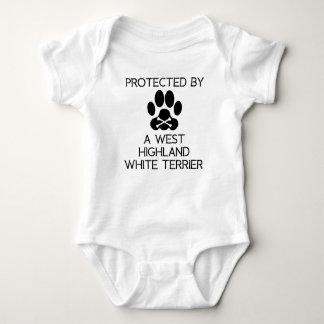 Geschützt durch ein Westhochland weißes Terrier Baby Strampler