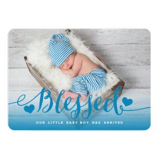 Gesegnete | blaue Baby-Geburts-Mitteilung Karte