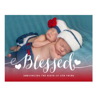 Gesegnete Foto-Geburts-Mitteilung der Zwillings-| Postkarte