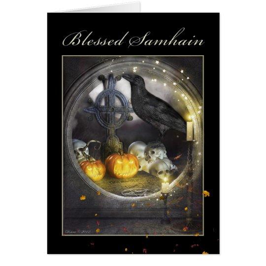 Gesegnete Samhain mystischer Raben-leere Karte