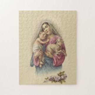 Gesegnetes Jungfrau-Mary-Mutter-Baby-Jesus-Lamm