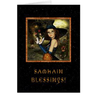 Gesegnetes Samhain - Hexe-Sterne Karte