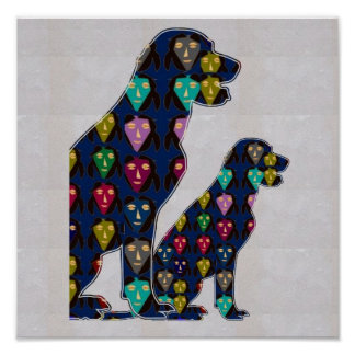 GESICHT gemaltes LABRADOR-Hundehaustier NavinJOSHI Poster