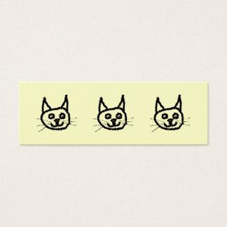 Gesichts-Cartoon der schwarzen Katze. Auf Creme Mini Visitenkarte