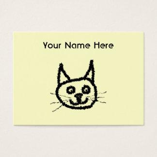 Gesichts-Cartoon der schwarzen Katze. Auf Creme Visitenkarte