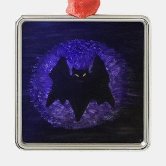 gespenstisch quadratisches silberfarbenes ornament