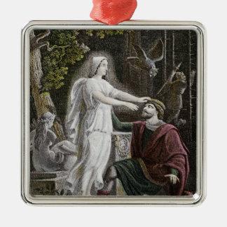 Gespenstische Frau Quadratisches Silberfarbenes Ornament