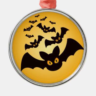 Gespenstische Halloween-Schläger Rundes Silberfarbenes Ornament