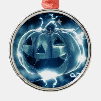 Gespenstische Kürbislaterne Rundes Silberfarbenes Ornament