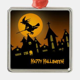 Gespenstische Verzierung Halloweens 2 Quadratisches Silberfarbenes Ornament