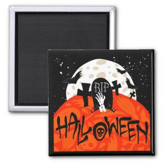 Gespenstischer Friedhof Halloweens schlägt Quadratischer Magnet