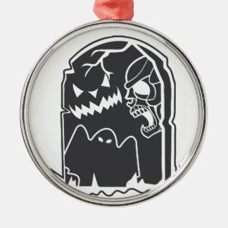 Gespenstisches Grab Rundes Silberfarbenes Ornament