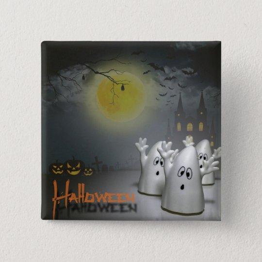 Gespenstisches Halloween Quadratischer Button 5,1 Cm