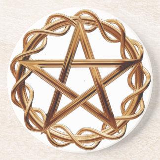 Gesponnener Wicca Pentagram Getränkeuntersetzer