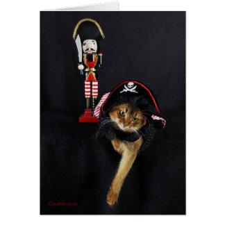 Gespräch wie eine Piraten-Tagessomalische Katze Grußkarte