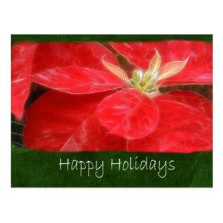 Gesprenkelte rote Poinsettias 1 - frohe Feiertage Postkarte