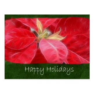Gesprenkelte rote Poinsettias 2 - frohe Feiertage Postkarte