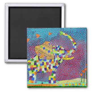 Gesteppter Elefant Quadratischer Magnet