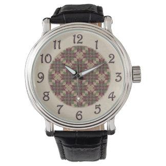Gesteppter grüner Burgunder-Stern Uhr