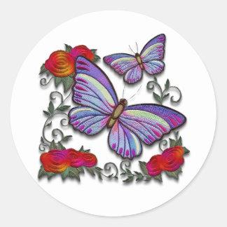 gestickte Schmetterlinge Runder Aufkleber