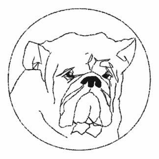 Gestickter Bulldoggen-Damen-langer Hülsen-T - Shir