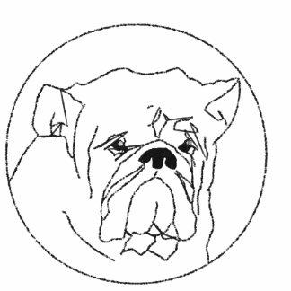 Gestickter Bulldoggen-langer Hülsen-T - Shirt