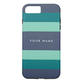 Gestreifte aquamarine u. blaue Gewohnheit iPhone 8 Plus/7 Plus Hülle