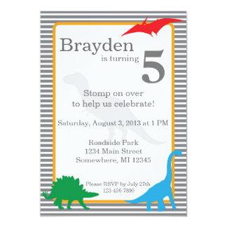 Gestreifte Dinosaurier Trex Geburtstags-Einladung Karte