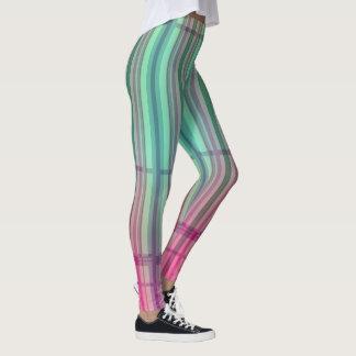 Gestreifte neue Tartan-Aqua-Rosa-Gamaschen 2 Leggings