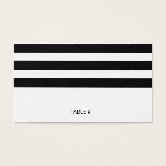 Gestreifte Schwarzweiss-Platzkarten - flach Visitenkarte