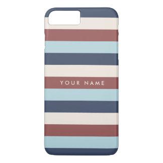 Gestreiftes Blau u. Marsala Gewohnheit iPhone 8 Plus/7 Plus Hülle