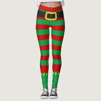 Gestreiftes Elf-Grün-rotes Neuheits-Weihnachten Leggings