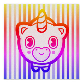Gestreiftes Emoji Einhorn-Plakat Poster