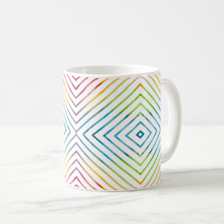 Gestreiftes geometrisches des bunten Aquarells Kaffeetasse