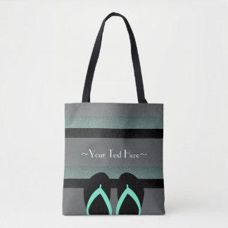 Gestreiftes Monogramm-Seeminzen-Grün-voller Druck Tasche