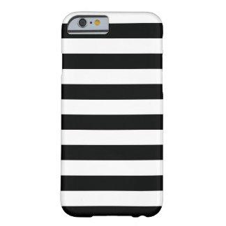 Gestreiftes (schwarz u. Weiß | horizontal) Barely There iPhone 6 Hülle