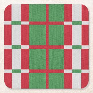 Gestreiftes Weihnachten Rechteckiger Pappuntersetzer