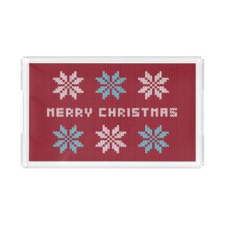 Gestrickter Weihnachtsstrickjacke-inspirierter Acryl Tablett