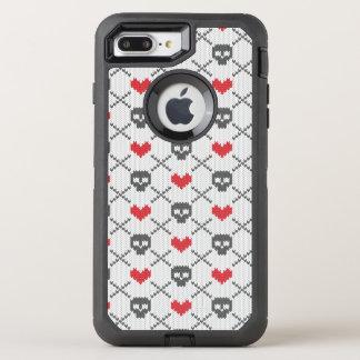 Gestricktes Muster mit den Schädeln OtterBox Defender iPhone 8 Plus/7 Plus Hülle