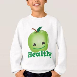 Gesund mit grünem kawaii Apfel mit einem Sweatshirt