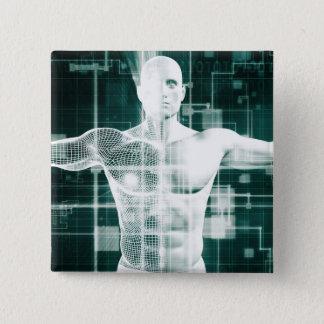Gesundheitswesen-Technologie und medizinischer Quadratischer Button 5,1 Cm
